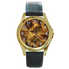Leaves Autumn Texture Brown Round Gold Metal Watch