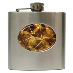 Leaves Autumn Texture Brown Hip Flask (6 Oz)