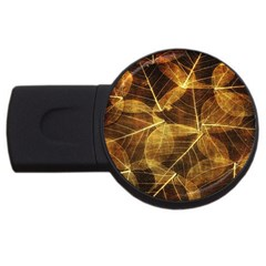 Leaves Autumn Texture Brown USB Flash Drive Round (2 GB)