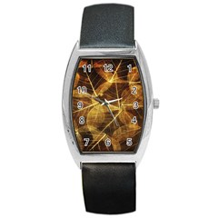 Leaves Autumn Texture Brown Barrel Style Metal Watch