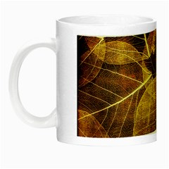 Leaves Autumn Texture Brown Night Luminous Mugs