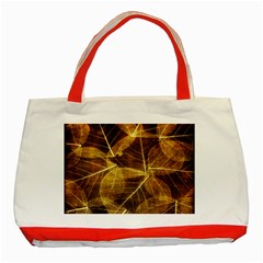 Leaves Autumn Texture Brown Classic Tote Bag (red)