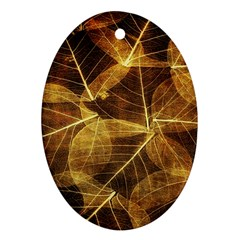 Leaves Autumn Texture Brown Oval Ornament (Two Sides)