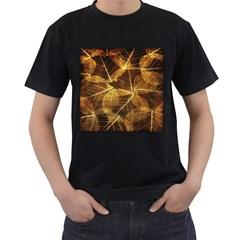Leaves Autumn Texture Brown Men s T-Shirt (Black)