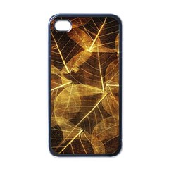 Leaves Autumn Texture Brown Apple iPhone 4 Case (Black)