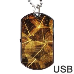 Leaves Autumn Texture Brown Dog Tag Usb Flash (one Side)