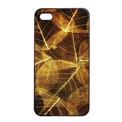 Leaves Autumn Texture Brown Apple iPhone 4/4s Seamless Case (Black)
