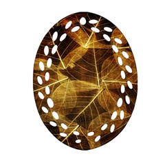 Leaves Autumn Texture Brown Oval Filigree Ornament (Two Sides)