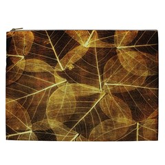 Leaves Autumn Texture Brown Cosmetic Bag (xxl)