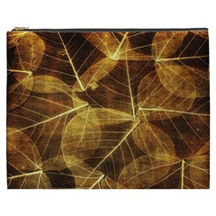 Leaves Autumn Texture Brown Cosmetic Bag (XXXL)