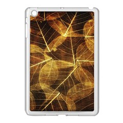 Leaves Autumn Texture Brown Apple iPad Mini Case (White)