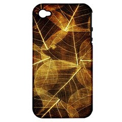 Leaves Autumn Texture Brown Apple iPhone 4/4S Hardshell Case (PC+Silicone)