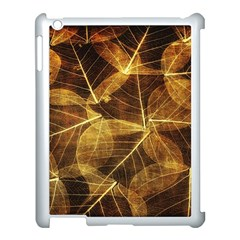Leaves Autumn Texture Brown Apple iPad 3/4 Case (White)