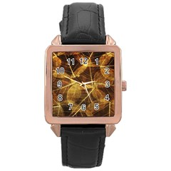 Leaves Autumn Texture Brown Rose Gold Leather Watch