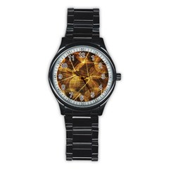 Leaves Autumn Texture Brown Stainless Steel Round Watch