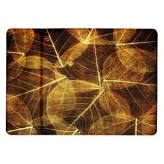 Leaves Autumn Texture Brown Samsung Galaxy Tab 10.1  P7500 Flip Case