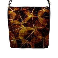 Leaves Autumn Texture Brown Flap Messenger Bag (L)