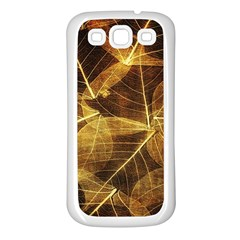 Leaves Autumn Texture Brown Samsung Galaxy S3 Back Case (White)