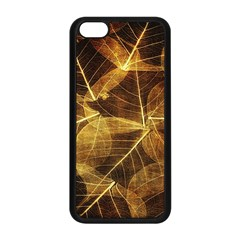 Leaves Autumn Texture Brown Apple iPhone 5C Seamless Case (Black)