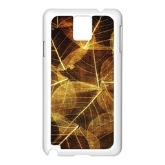 Leaves Autumn Texture Brown Samsung Galaxy Note 3 N9005 Case (White)