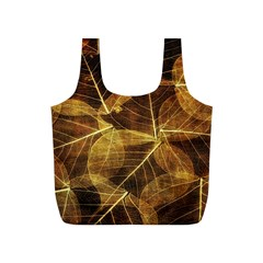 Leaves Autumn Texture Brown Full Print Recycle Bags (S)