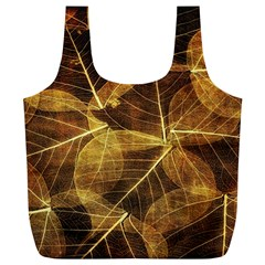 Leaves Autumn Texture Brown Full Print Recycle Bags (L)