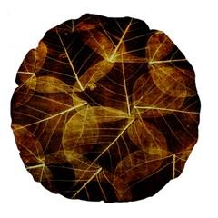 Leaves Autumn Texture Brown Large 18  Premium Flano Round Cushions