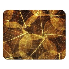 Leaves Autumn Texture Brown Double Sided Flano Blanket (Large)