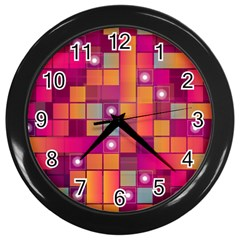 Abstract Background Colorful Wall Clocks (Black)