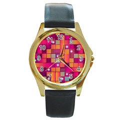 Abstract Background Colorful Round Gold Metal Watch