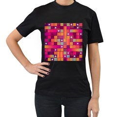 Abstract Background Colorful Women s T-Shirt (Black) (Two Sided)