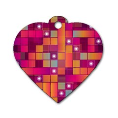 Abstract Background Colorful Dog Tag Heart (One Side)