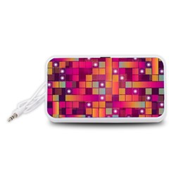 Abstract Background Colorful Portable Speaker (white)