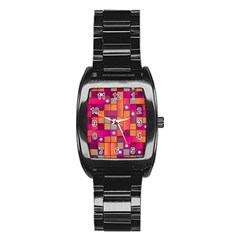 Abstract Background Colorful Stainless Steel Barrel Watch