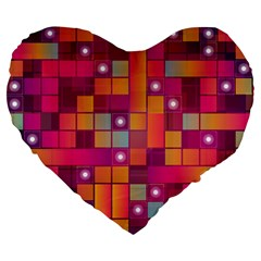 Abstract Background Colorful Large 19  Premium Flano Heart Shape Cushions