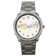 Abstract Color Pattern Colorful Sport Metal Watch