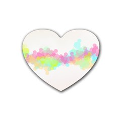 Abstract Color Pattern Colorful Rubber Coaster (Heart)