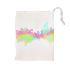 Abstract Color Pattern Colorful Drawstring Pouches (Large)