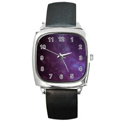 Abstract Purple Pattern Background Square Metal Watch
