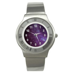 Abstract Purple Pattern Background Stainless Steel Watch