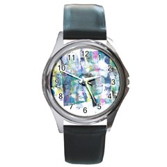 Background Color Circle Pattern Round Metal Watch