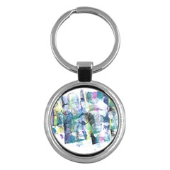 Background Color Circle Pattern Key Chains (Round)