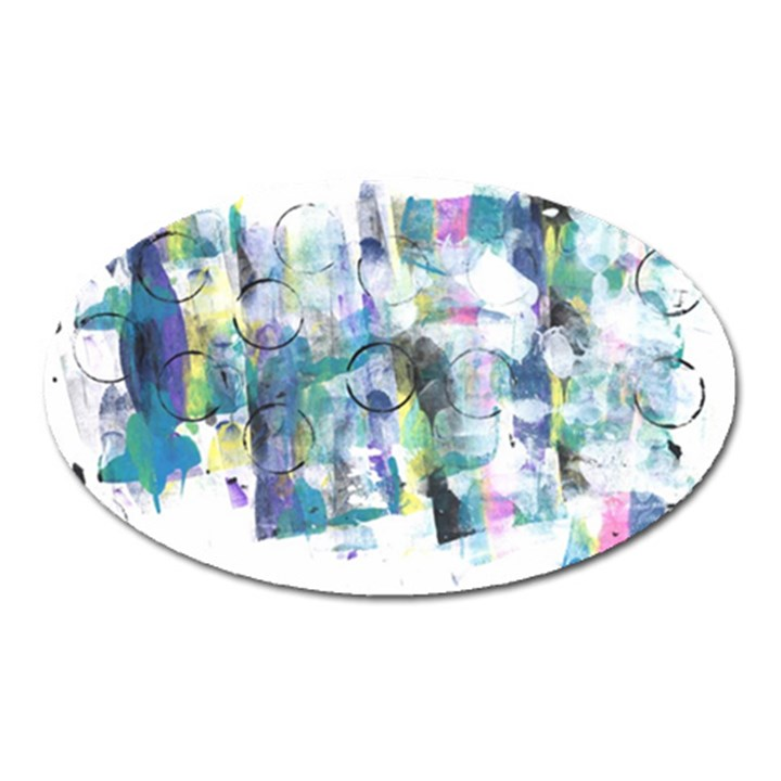 Background Color Circle Pattern Oval Magnet