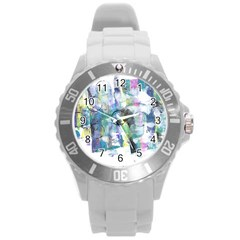 Background Color Circle Pattern Round Plastic Sport Watch (L)