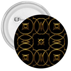 Black And Gold Pattern Elegant Geometric Design 3  Buttons