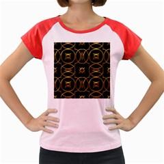 Black And Gold Pattern Elegant Geometric Design Women s Cap Sleeve T-Shirt