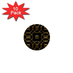 Black And Gold Pattern Elegant Geometric Design 1  Mini Buttons (10 pack)