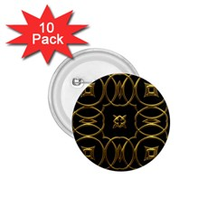 Black And Gold Pattern Elegant Geometric Design 1.75  Buttons (10 pack)