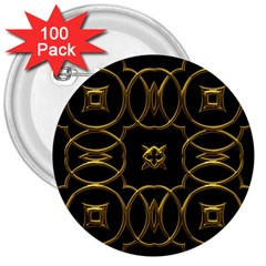 Black And Gold Pattern Elegant Geometric Design 3  Buttons (100 pack)