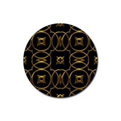 Black And Gold Pattern Elegant Geometric Design Rubber Round Coaster (4 pack)